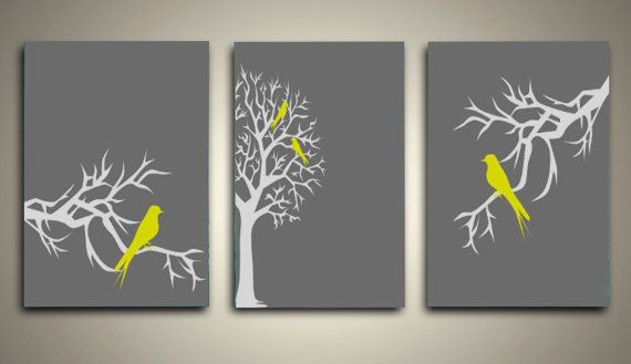 Set Of 3 Love Bird Picture Wall Art Gray Grey Yellow Tree Wedding Ann