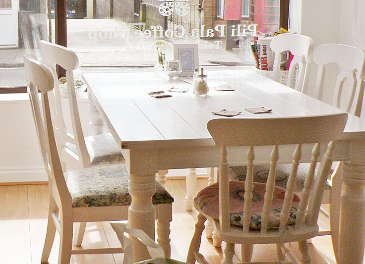 white farmhouse table with chairs For the Home