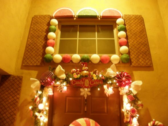Pin by quirky alina on candy decorations pinterest for Gingerbread house outdoor decorations