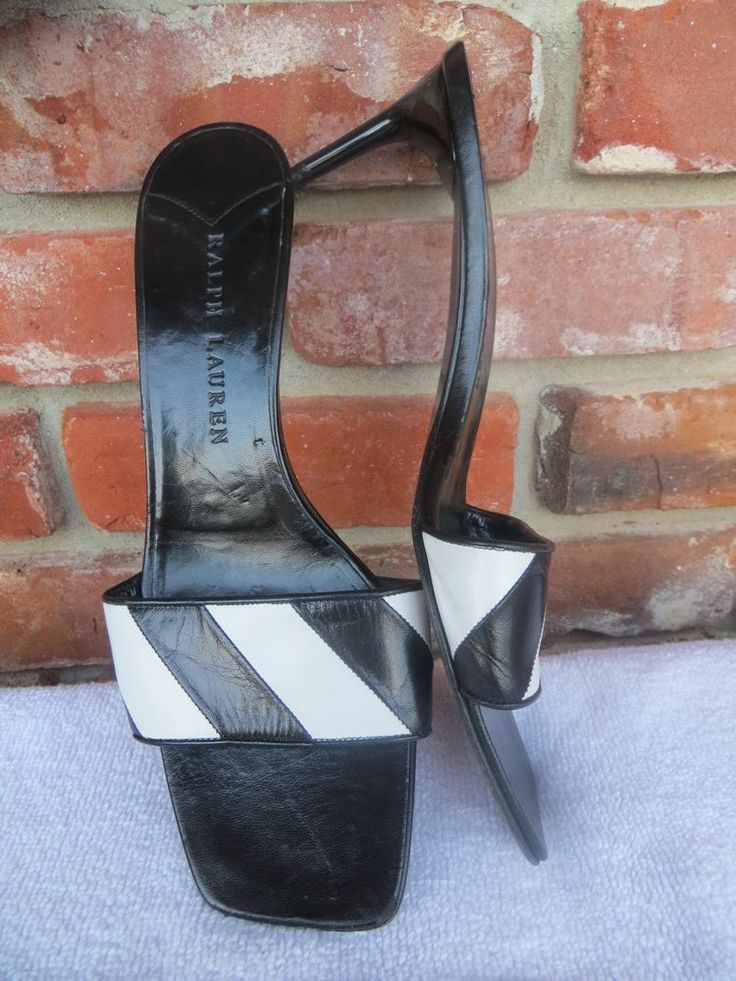 Only $20 BUCKS ~ RALPH LAUREN Polo Womens Shoes Slides Black White