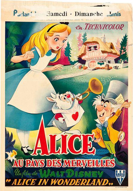 Belgian poster for Alice in Wonderland. | Cartoons ♥ Art | Pinterest