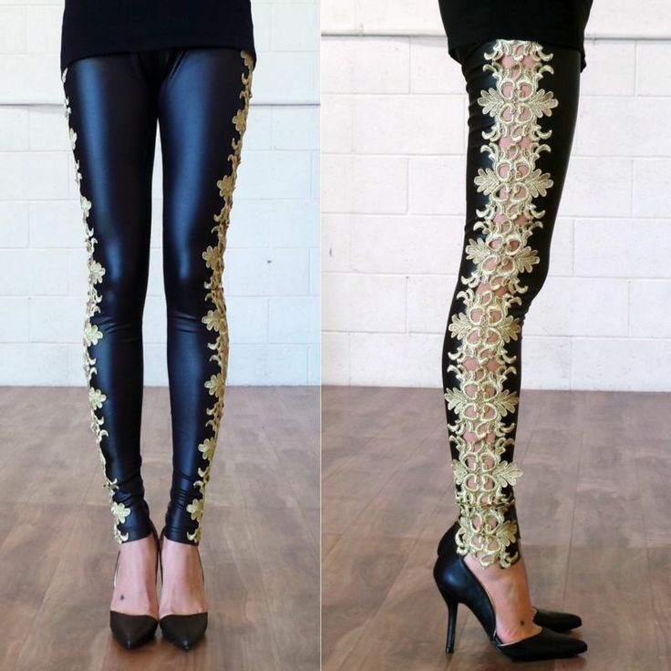 Faux Leather Gold Embroidery Leggings