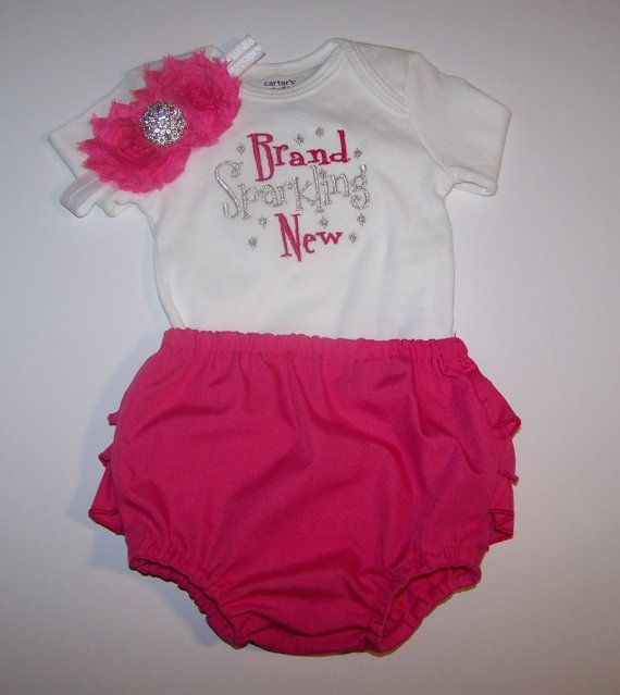 Bring Home Baby outfit with matching Headband by LittleQTCouture, $36.00