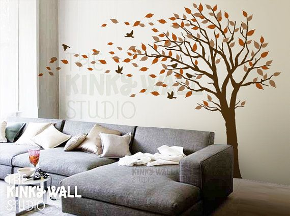 Blowing tree wall decal bedroom wall decals wall sticker for Bedroom wall decals
