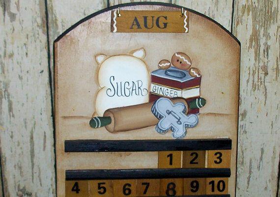 Gingerbread Wood Perpetual Calendar Kitchen Home Decor Primitive Folk ...