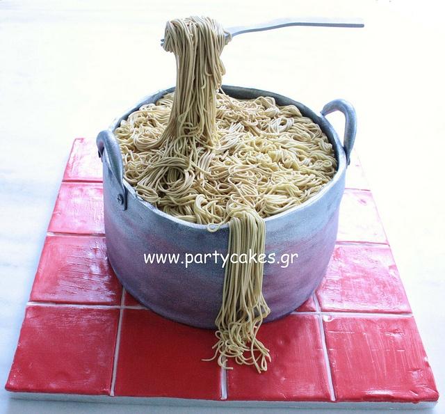 saucepan of spaghetti cake | **Cake / Joy to see | Pinterest