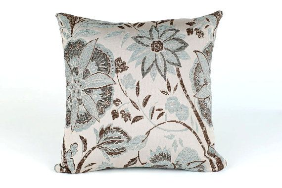 Light Blue And Brown Decorative Pillows : Light Blue and Brown, Tapestry Style Floral Decorative Throw Pillow C?