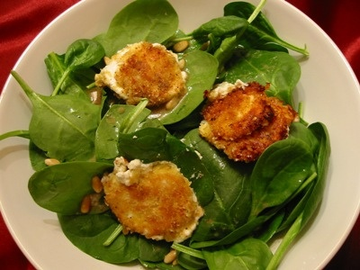 Fried goat cheese salad with maple-mustard vinaigrette