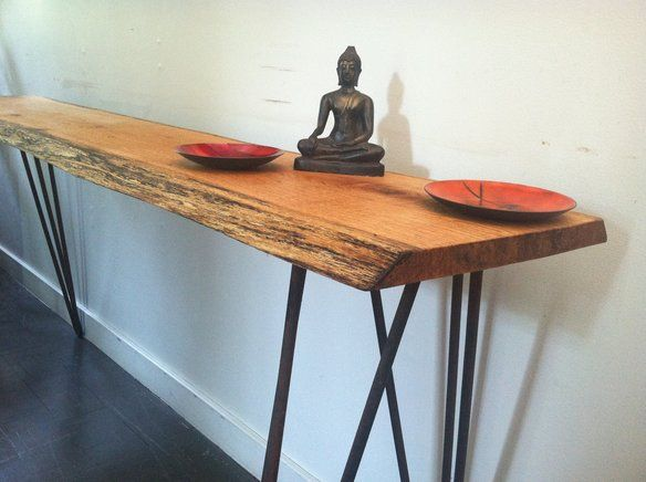 Slab wood console table with vintage hairpin legs for Vintage hairpin table legs