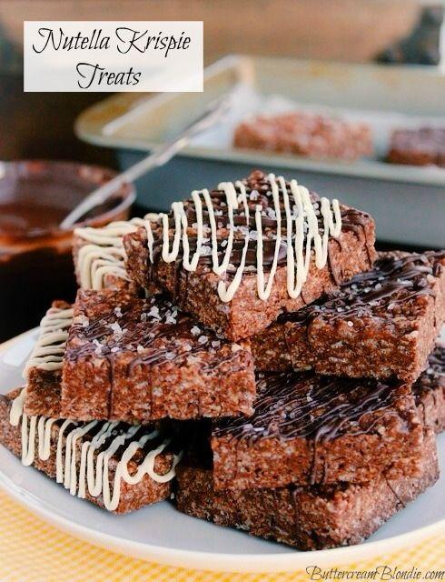 Nutella Krispie Treats - no-bake, beyond easy & loaded with Nutella ...