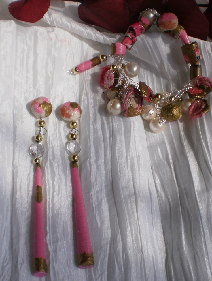 Pretty in Pink Collection created from 80% recycled paper, crystals, pearls & fiber.   It's been created by MERELYME.CO