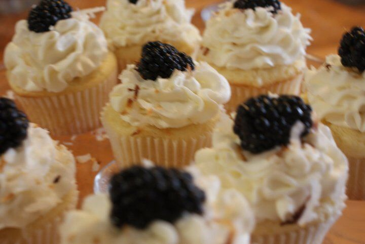 Blackberry, coconut cupcakes | Sweets Obsession Cakery | Pinterest