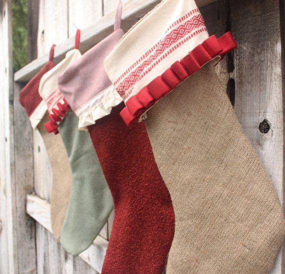 Adorable Handmade Green And Red Christmas Stocking