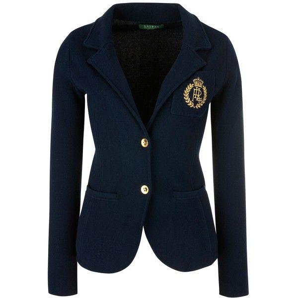 lauren by ralph lauren long sleeve buttoned blazer capri navy 250. Black Bedroom Furniture Sets. Home Design Ideas