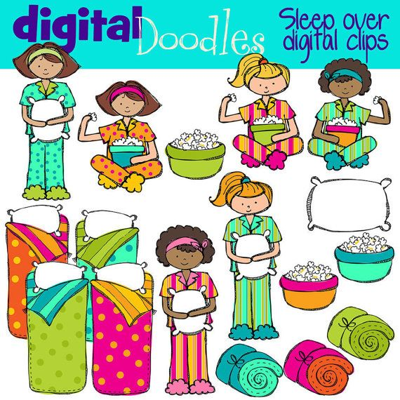 INSTANT DOWNLOAD Sleep over Slumber party digital by kpmdoodles, $3.65