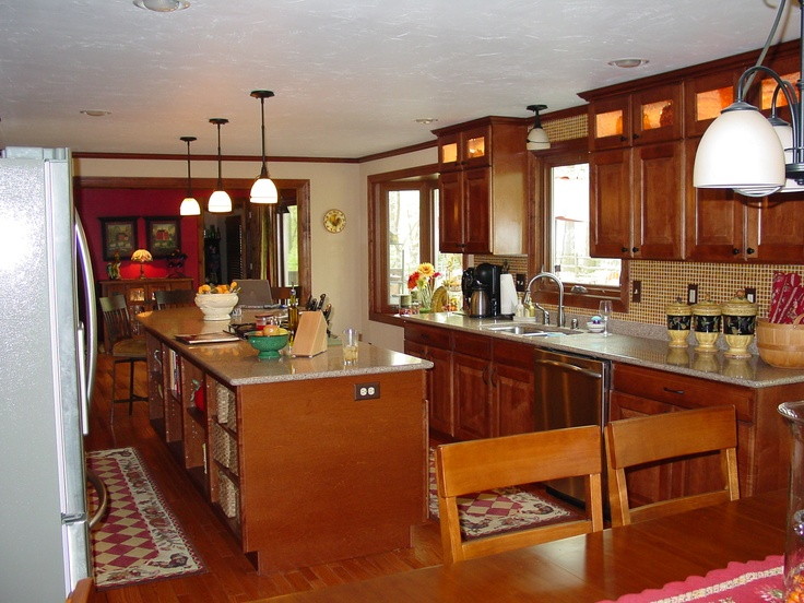 Open galley kitchen and dining area kitchens pinterest for Galley kitchen with dining area