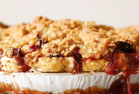 ... ...devour it. ----> Strawberry Rhubarb Pie with Ginger Crumb Topping