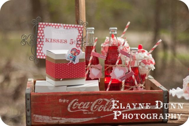 Valentine's Day drinks in a vintage Coke crate