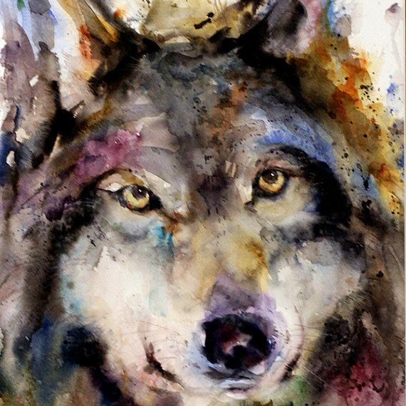 WOLF Original Watercolor Painting By Dean Crouser