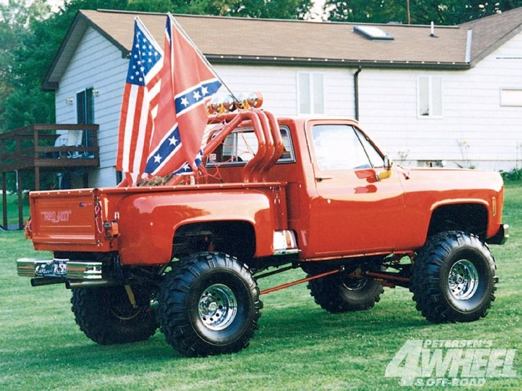 Jacked Up Red Chevy Trucks