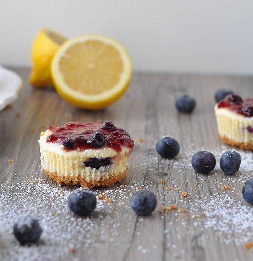Mini Blueberry Lemon Cheesecakes. #food | Cakes, cupcakes and treats ...