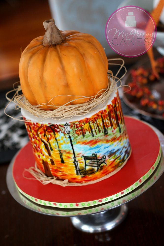Fall cake, with hand painted scene in airbrush food colors. http://www.mcgreevycakes.com/2013/10/07/hand-painting-a-scene-on-a-cake-in-under-30-minutes-ahhh/