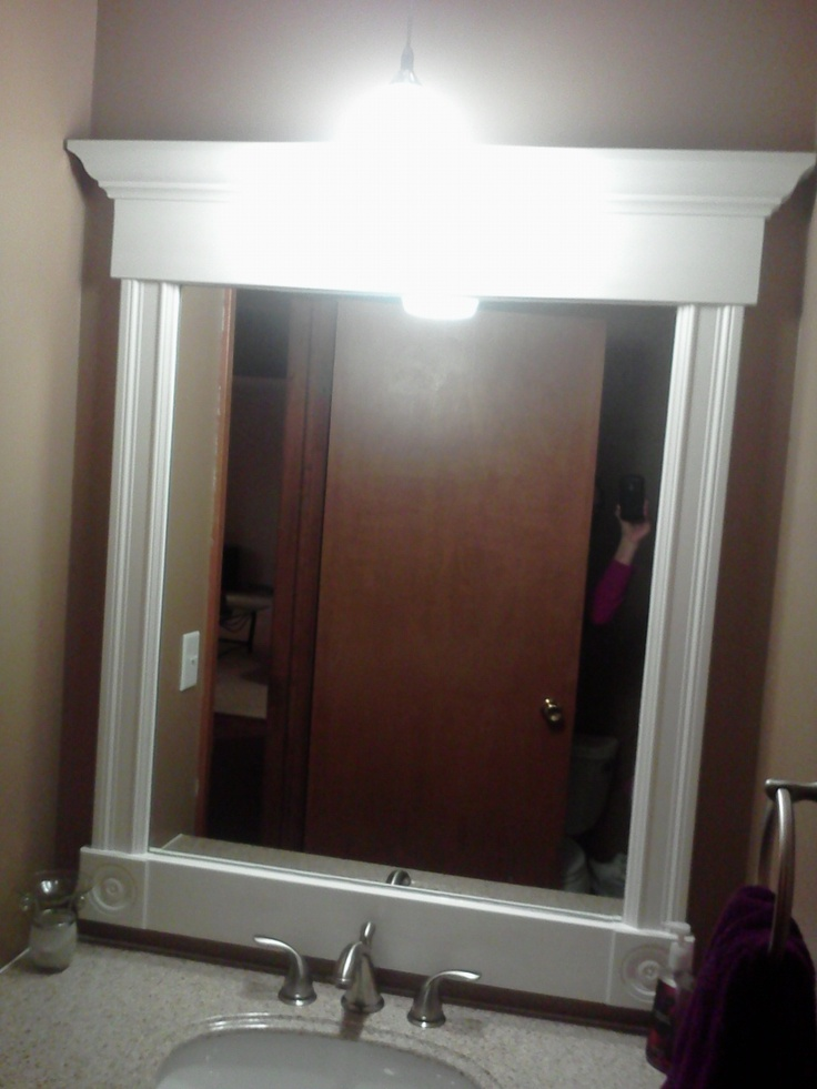 Pin by kate hollifield on diy home projects pinterest for Molding around mirror bathroom