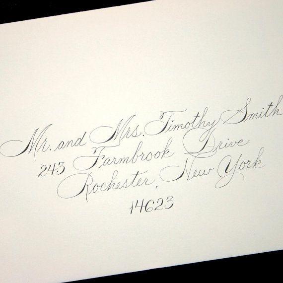 Wedding calligraphy invitation envelope addressing spencerian style