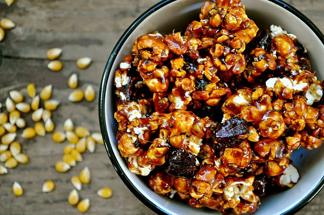 Spicy Caramel Bacon Popcorn? No, I don't think so. Sweet? CHECK! Spicy ...