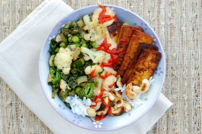Brown Rice Bowl With Lemongrass, Tofu And Cashews Recipe — Dishmaps