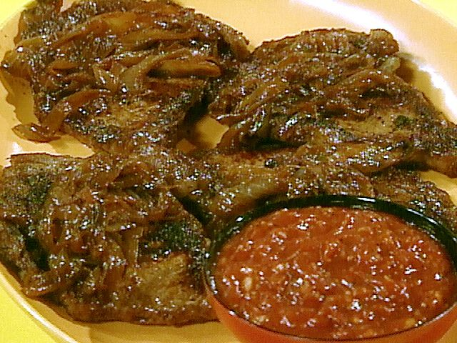 Delmonico Steaks with Balsamic Onions and Steak Sauce Recipe : Rachael ...