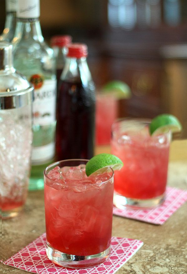 bacardi cocktail - grenadine simple syrup, bacardi rum, lime ...