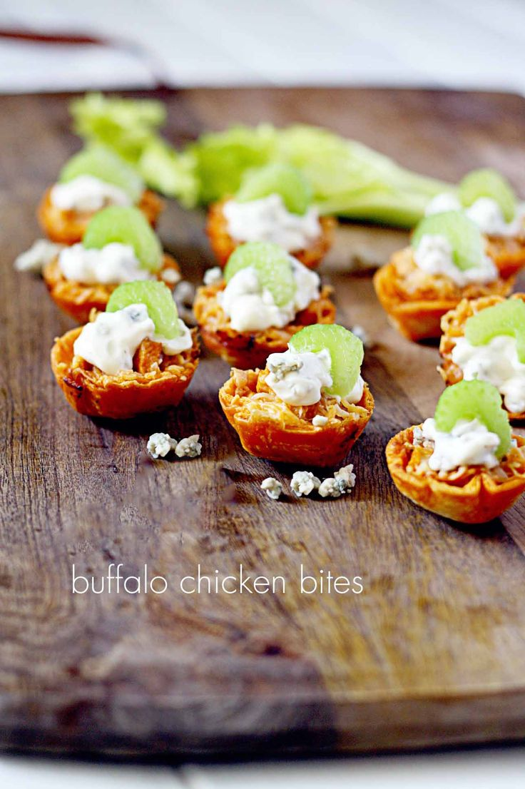 Buffalo Chicken Bites in a Tortilla Cup! Perfect for Game Day Parties!