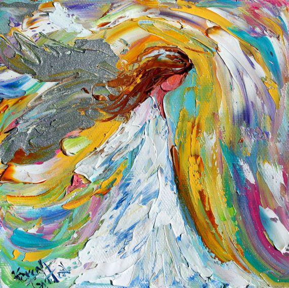 Original oil ANGEL PALETTE KNiFE painting by Karensfineart on Etsy, $ ... Oil Paintings Of Angels