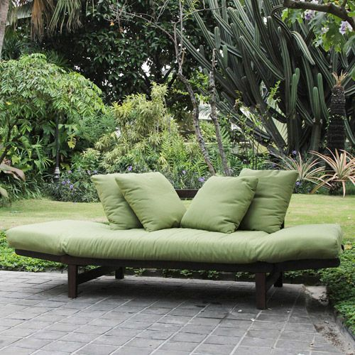 Studio Converting Outdoor Sofa Brown With Green Cushions