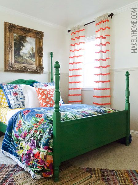 Anthropologie Swing Stripe Curtain Knockoff - DIY embellished curtain panels via MakelyHome.com