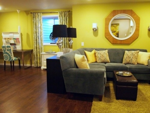 Yellow Walls And Gray Sofa Living Room Ideas Pinterest