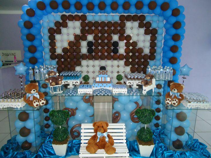 decoracao festa urso azul e marrom:Urso Azul e Marrom