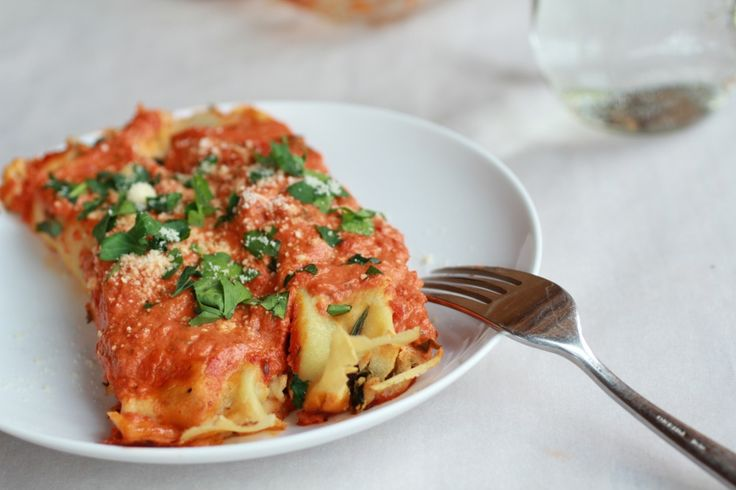 Spicy Italian Chicken Suasage, Spinach and Crepe Manicotti | Recipe