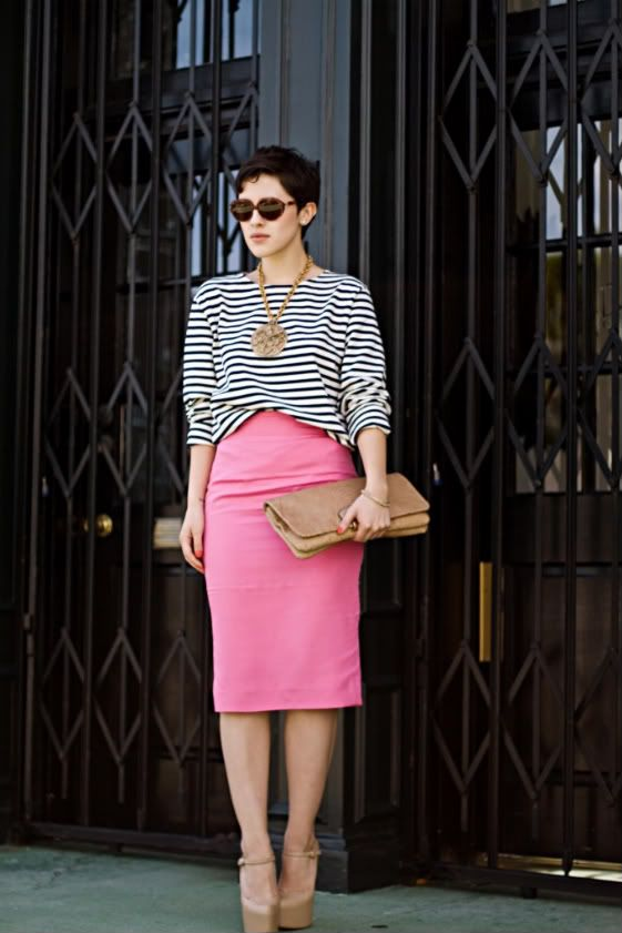 classic striped shirt + pink pencil skirt