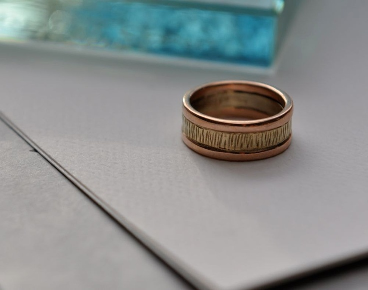 Rose and wispy green gold made in maine wedding band 750 for Maine wedding bands