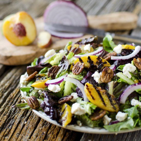 salad tossed with a citrus poppy seed dressing, grilled peaches, honey ...