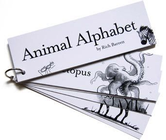 It began as a game for his daughter, but now Rich Barrett has made a company of it. He designed and drew 26 black-and-white unusual animals for each letter of the alphabet. Then, as favors for his daughter's birthday party, he printed them on coated cardstock and bound them together with a metal ring. And so, a business was born.