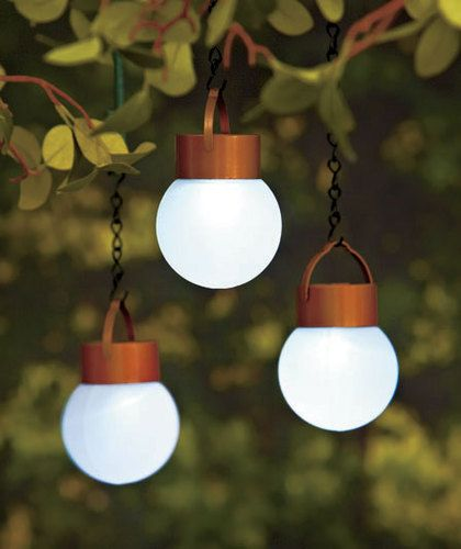 Set of 3 Hanging Solar LED Frosted Globe Lights Outdoor