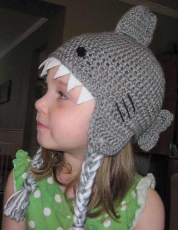 Kids' Shark Hat Crochet Shark Hat Shark Hat by thejumpingjunebug, $28.00