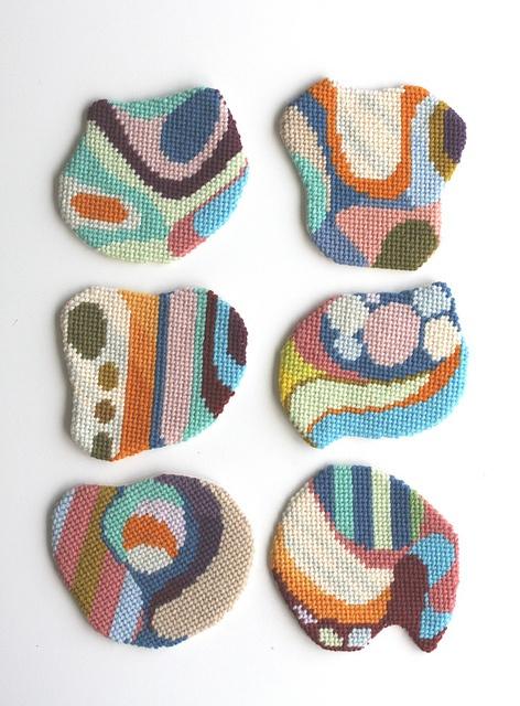 "needlepoint ""Impromptu Coasters II"" by cresus-parpi"