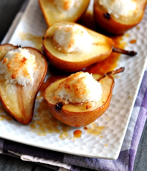 Baked Macaroon Pears with Palm Sugar Syrup