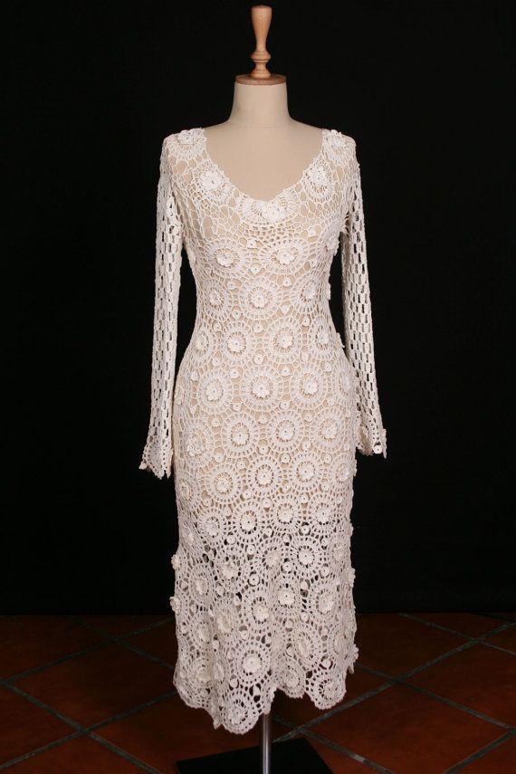 Crochet Wedding : Hand Crocheted Crochet Wedding Dress Bridal by crochetbutterfly ...