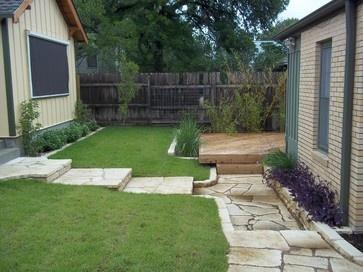 Deck grass stairs contemporary landscape austin purple