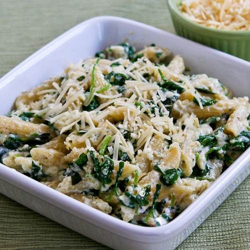 Penne Pasta with Wilted Arugula, Basil, Ricotta, and Parmesan Sauce ...